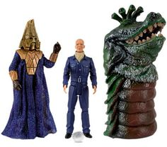 60. Enemies of the Third Doctor set: contains Auton (with Nestene sphere, and swappable normal hand and gun hand) (from Spearhead from Space) Omega and Drashig