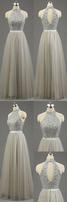 Silver Formal Dresses, Long Prom Dresses, High Neck Gray Party Gowns, Fashion: How to Dress when Pregnant. Tulle Prom Dress, Grad Dresses, Trendy Dresses, Ball Dresses, Ball Gowns, Wedding Dresses, High Neck Prom Dresses, Dress Long, Dresses Dresses