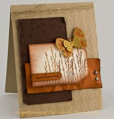 Stampin Up: Pocket Silhouettes. Distressed card including butterflies.