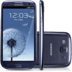 """Smartphone Samsung I9300 Galaxy S III - Metallic Blue - GSM, Tela Touch Super AMOLED Plus 4.8"""", Android 4.0, Processador Quad-Core 1.4GHz, 3G, Wi-Fi, GPS, Câmera 8MP com Flash, Câmera Frontal 1.9MP, Filma em Full HD, MP3 Player, Bluetooth 4.0, Memória Interna 16Gb, Fone de Ouvido e Cabo USB"""