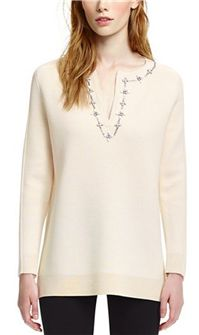Tory Burch - Persia Tunic: Snowy ivory with a bit of sparkle at the split neckline is so soft and inviting for a casual holiday get together.