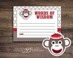 Instant Download Sock Monkey Baby Shower Advice by Studio20Designs, $1.50