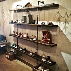 Another pipeshelf @buckshardgoods located in downtown Oakville!  #reclaimedwood #pipe #pipefurniture #pipeshelf #oakville #toronto #retail #retaildesign #interiordesign #shoes #fashion #rustic #industrial #handmade #character #woodrescue #woodhunters #woodlife #salvage #recycle by breadandbutter.to