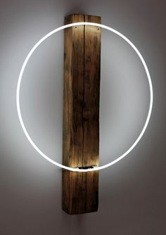 Wood and circle light http://www.justleds.co.za but as a clock (Cool Paintings Furniture)