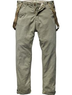 Drop crotch pants with suspenders - Pants - Scotch & Soda Online Shop My Life Style, My Style, Military Fashion, Mens Fashion, Fashion Tips, Green Chinos, Drop Crotch Pants, Suspender Pants, Dress Attire