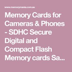 Memory Cards for Cameras & Phones - SDHC Secure Digital and Compact Flash Memory cards Sandisk Transcend Lexar Samsung
