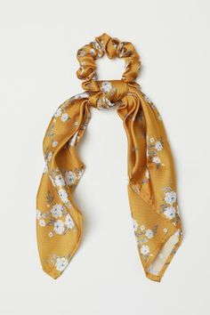 Hair Jewelry Scrunchie with Scarf Detail - Dark yellow/floral - Ladies Scarf Hairstyles, Braided Hairstyles, Fashion Hairstyles, Natural Hairstyles, Bleach Tie Dye, Twist Headband, Turban Headbands, Hair Accessories For Women, Yellow Accessories