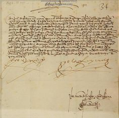 Ferdinand and Isabella letter, 1492. King Ferdinand and Queen Isabella of Spain signed this letter on May 16, 1492 approving the confiscation of gold and valuable goods from the Moorish Jews. The letter is part of the J. S. H. Fogg Autograph Collection.
