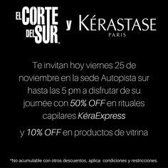 ¡Journée de Kérastase!  Disfruta hoy #Viernes 25 de noviembre en nuestra sede Autopista sur Calle 10 # 61A - 04 del 50% de descuento en todos nuestros rituales #KéraExpress  Y 10% de descuento en líneas #Kérastase de vitrina.  Visitanos, ¡Tenemos tiempo para ti!