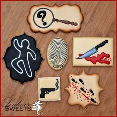 Murder Mystery Cookies Clue Inspired quantity: by SeahorseSweets