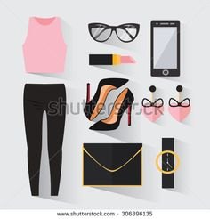Woman modern clothing set. Stylish and trendy clothing. Casual day look. Businesswoman clothes decorative icons flat set. Vector illustration