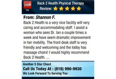 Back 2 Health is a very nice facility will very caring and accommodating staff. I assist a...