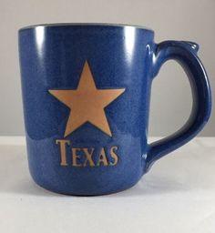 Texas Star Blue Pottery Coffee Mug Tea Cup - NEW - Heavy Big Handle  | eBay