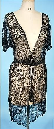 Edwardian, black bugle beaded over-tunic on cotton netting, c. 1910 #beading #Edwardian