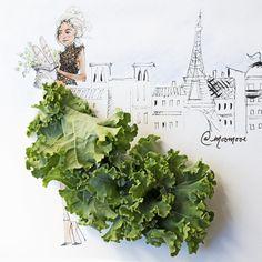 Elle confectionne des illustrations sublimes avec des légumes et des pétales de fleurs... incroyable !