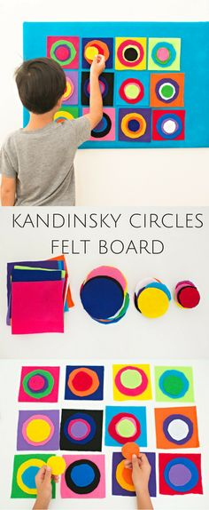 DIY Kandinsky Circles Felt Board. Fun interactive art project for kids with colorful variations they can design over and again. Plus great activity for scissor cutting and fine motor skills. #artsandcrafts