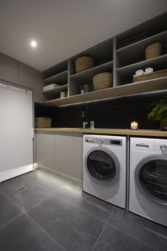 Practical Home laundry room design ideas 2018 Laundry room decor Small laundry room ideas Laundry room makeover Laundry room cabinets Laundry room shelves Laundry closet ideas Pedestals Stairs Shape Renters Boiler White Laundry Rooms, Modern Laundry Rooms, Small Laundry, Laundry In Bathroom, Laundry Closet, Modern Room, Bathroom Bench, Garage Laundry, Basement Laundry