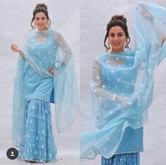 Buy Blue Color Sharara Suit by Akanksha Singh at Fresh Look Fashion Pakistani Dresses Casual, Pakistani Bridal Dresses, Pakistani Dress Design, Gharara Designs, Kurti Designs Party Wear, Red Lehenga, Anarkali, Lehenga Choli, Indian Gowns