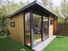 Garden Office With Composite Deck Graphite Sliding Corner Window From Inc