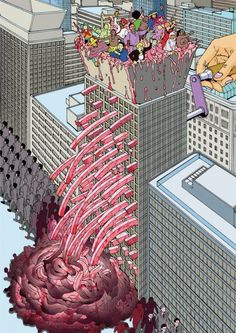 Shintaro Kago - ...think the gore adds realism to the metaphor that an office block is a people grinder.