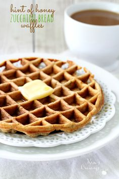 Hint of Honey Zucchini Bread Waffles- soft and fluffy with just enough honey sweetness to make for the perfect breakfast! #AD