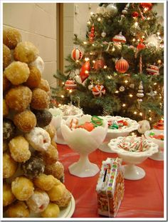 christmas DONOT TREE.. Styrofoam and mini donuts toothpicked ON!!