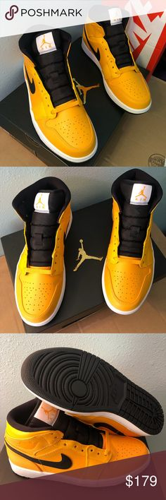 a0d8b7ce6d3fbf Air Jordan 1 Mid University Gold Black-White Nike Air Jordan 1 Mid Taxi