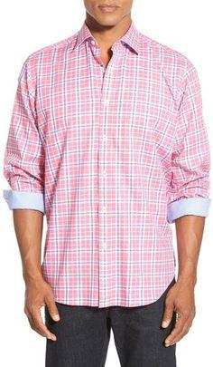 Bugatchi Classic Fit Plaid Sport Shirt (Tall)