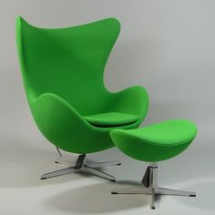 Arne Jacobsen's Egg Chair, produced by Fritz Hansen, upholstered in a green shade of our Tonus textile
