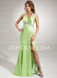 I would Like this but in Black, I don't care for the green......Evening Dresses - $136.99 - A-Line/Princess Halter Sweep Train Charmeuse Evening Dress With Ruffle Beading Sequins (017005605) http://jjshouse.com/A-Line-Princess-Halter-Sweep-Train-Charmeuse-Evening-Dress-With-Ruffle-Beading-Sequins-017005605-g5605