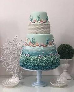 Ali's debut cake ideas Pretty Cakes, Cute Cakes, Beautiful Cakes, Amazing Cakes, Ocean Cakes, Beach Cakes, Beach Theme Cakes, Beach Wedding Cakes, Mermaid Birthday Cakes