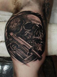 #skull #old #Colt #bullet #tattoo #hammersmithtattoo #west #london #ink