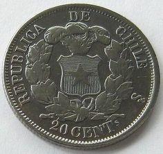Чили, СЕРЕБРЯНАЯ МОНЕТА 20 сентаво 1866, редкий, с деталями! in Монеты и банкноты, Монеты: страны мира, Южная Америка   eBay