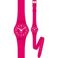 Swatch Women's Originals LR123 Pink Rubber Quartz Watch with Pink Dial