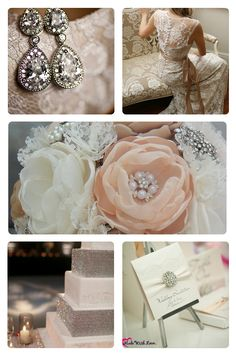Wedding Inspiration for the Sparkly Bride - Link to vendors in the comments :)  Wedding Inspiration Lace Wedding Diamond Wedding Sparkly Wedding Sparkles Cake Earrings Dress Flowers Invitations