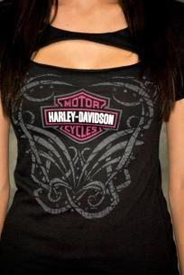 Harley-Davidson® Womens Pink B Slash Chest Black Short Sleeve T-Shirt Sz LARGE*SLICE PAID*
