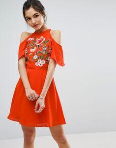 ASOS Cold Shoulder Skater Dress With Floral Embroidery