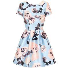 Chi Chi London Floral Print Mini Dress (1,365 MXN) ❤ liked on Polyvore featuring dresses, blue, women, mini dress, blue cap sleeve dress, day to night dresses, floral dress and floral summer dresses