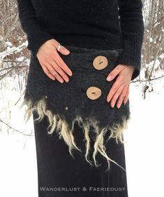 Wool Felted SKIRT Felt wrapping Skirt adjustable woolen Mini