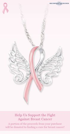 Let hope soar! The iconic symbol synonymous with the fight against breast cancer is showcased in this inspiring pendant necklace. Gleaming with sterling silver plating, its intricate sculpted wings sparkle with 16 Swarovski crystals. A portion of the proceeds from its sales will be donated to support the fight against breast cancer.