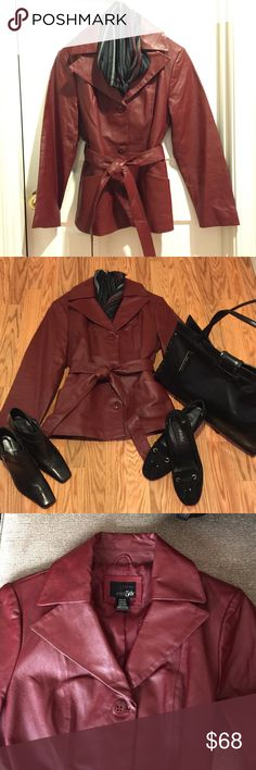 "💯FLASH SALE💯NWOT east 5th GENUINE LEATHER JACKET NEVER WORN! TRULY BEAUTIFUL VINTAGE, 3 MARBLED LOOKING BUTTON CLOSURE WITH TIE, COLLAR LEATHER JACKET! COLOR CLOSEST TO 3rd PICTURE. SIZE PETITE LARGE! RN93677! Outer shell 100% LEATHER, Lining 100% POLYESTER. STAPLE PIECE FOR YOUR CLOSET!  18"" waist, 25.5"" shoulder to hem, 20"" pit to pit. East 5th Jackets & Coats Trench Coats"