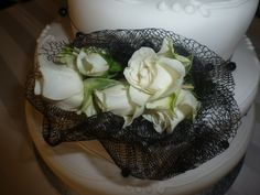 Black and white cake corsage