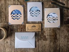 Individual handcrafted greetings cards made from 100% paper from responsibly managed forests. Inspired by the rugged North East coast of England. Pack of three containing three individual handmade unique cards with envelopes. All papers used are 100% FSC approved and delivered using recycled and/or recyclable packaging. Design developed, made and distributed by JAY THE PAPERSMITH studio in Teesside, UK. www.jaythepapersmith.co.uk @jaythepapersmith Handmade Greetings, Greeting Cards Handmade, Recyclable Packaging, Eco Friendly Paper, Ocean Sunset, Fish Print, All Paper, Unique Cards, Forests