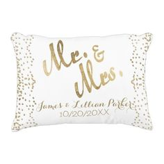 Fake Gold Mr. and Mrs. Monogram Wedding ceremony Ornamental Pillow.  Find out more at the picture
