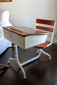 Painting ideas for our vintage school desk from OLP