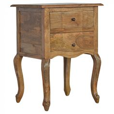 Two Drawer Bedside with French Design Legs