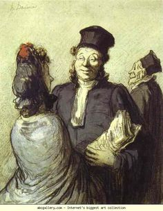 Honore Daumier. A Lawyer with His Client. c.1862. Crayon and watercolor on paper. Staatsgalerie, Stuttgart, Germany.