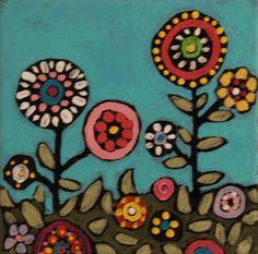Original Folk Art Whimsical Flowers Painting by HandmadebyJenny, $16.00