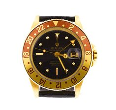 Vintage 1973 Rolex GMT Master - Rootbeer bezel - Black leather strap - Offered at $14,000-  Available here - http://www.ebay.com/itm/VINTAGE-ROLEX-GMT-MASTER-18K-GOLD-WITH-LEATHER-STRAP-AND-ROOTBEER-BEZEL-/181654288743?pt=LH_DefaultDomain_0&hash=item2a4b707967 #rolex #gmt #master #vintage #rootbeerbezel