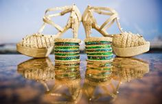 peacock green and gold bangles + gold shoes